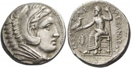 Alexander III, 336-323 and posthumous issues. Tetradrachm, Amphipolis 323-320, AR 16.82 g. Head of Heracles r., wearing lion's skin headdress. Rev. Ze...
