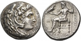 Alexander III, 336-323 and posthumous issues. Tetradrachm, Babylon 323-317, AR 17.11 g. Head of Heracles r., wearing lion's skin headdress. Rev. Zeus ...