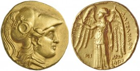 Alexander III, 336-323 and posthumous issues. Stater, Babylon circa 311-300 BC, AV 8.52 g. Head of Athena r., wearing Corinthian helmet decorated with...