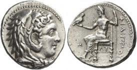Philip III, 323 – 317. Tetradrachm, Babylon 323-317, AR 17.06 g. Head of Heracles r., wearing lion's skin headdress. Rev. Zeus seated l. on throne, ho...