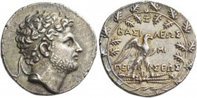 Perseus, 178 – 168. Tetradrachm, Pella 178-168, AR 16.60 g. Diademed head r., slightly bearded. Rev. Eagle standing r. on thunderbolt, with open wings...