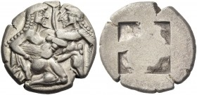 Islands off Thrace, Thasos. Stater circa 525-463, AR 7.93 g. Naked ithyphallic satyr supporting nymph under thighs with r. arm, the l. hand under her ...