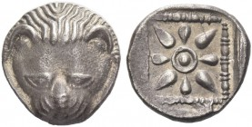 Tauric Chersonesus, Panticapeum. Triobol circa 460-450 BC, AR 2.16 g. Facing lion. Rev. Stellate pattern within incuse square. MacDonald 9.