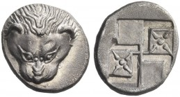 Tauric Chersonesus, Panticapeum. Diobol circa 460-450 BC, AR 1.73 g. Facing lion. Rev. Two stellate pattern within incuse square. SNG BN Black Sea 841...