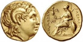 Kings of Thrace, Lysimachus, 323 – 281 and posthumous issues. Stater, uncertain mint circa 323-281, AV 8.56 g. Diademed head of deified Alexander III ...
