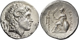 Kings of Thrace, Lysimachus, 323 – 281 and posthumous issues. Tetradrachm, Lampsacus 297-281, AR 16.84 g. Diademed head of deified Alexander III r., w...