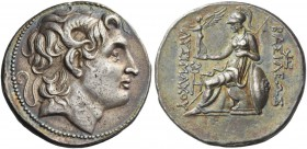 Kings of Thrace, Lysimachus, 323 – 281 and posthumous issues. Tetradrachm, Amphipolis 288-281, AR 17.14 g. Diademed head of deified Alexander III r., ...