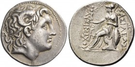 Kings of Thrace, Lysimachus, 323 – 281 and posthumous issues. Tetradrachm, Amphipolis 288-281, AR 17.18 g. Diademed head of deified Alexander III r., ...