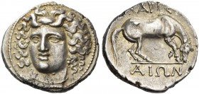 Thessaly, Larissa. Drachm circa 348-336, AR 6.01 g. Head of nymph Larissa facing three quarters l., wearing ampyx; hair floating freely above head. Re...