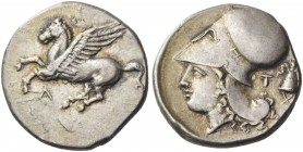 Acarnania, Leucas. Stater circa 345-307 BC, AR 8.47 g. Pegasus flying l. Rev. Helmeted head of Athena l.; in r. field, TI and crested Macedonian helme...