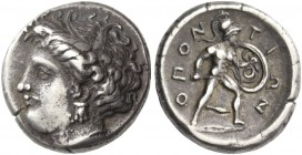Lokris, Lokri Opuntii. Stater, circa 360, AR 12.13 g. Head of Demeter l. Rev. Ajax advancing r., below, Spearhead to r. between legs. Symbol inside th...