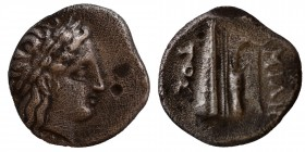 BITHYNIA. Kios. Half Siglos or Hemidrachm (Circa 350-300 BC). Miletos, magistrate. Obv: Laureate head of Apollo right. Rev: MIΛH / TΟΣ. Prow of galley...