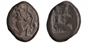Greek, Kings of Persia, Darios I to Xerxes II, AR Siglos, Sardes c. 485-400 BC Obverse: Persian king or hero, wearing kidaris and kandys, quiver over ...