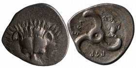 DYNASTS OF LYCIA. Perikles, circa 380-360 BC. 1/3 Stater Facing lion's scalp. Rev. 𐊓𐊁𐊕-𐊆𐊋-𐊍𐊁 ('Perikl...