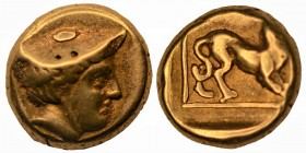 LESBOS. Mytilene. Circa 377-326 BC. Hekte (Electrum) Head of Hermes to right, wearing petasos. Rev. Panther walking right within linear square within ...