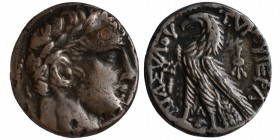 Phoenicia, Tyre. Silver Shekel, ca. 126/5 BC-AD 65/6. CY 63 (64/3 BC). Laureate bust of Melkart right, lion's skin tied at neck. Rev: eagle standing l...