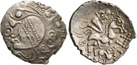 CELTIC, Northwest Gaul. Aulerci Eburovices. Late 2nd to first half of 1st century BC. 1/4 Stater (Electrum, 15 mm, 1.53 g, 2 h), 'au loup' type. Celti...