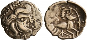 CELTIC, Northwest Gaul. Osismii. Late 2nd to mid 1st century BC. 1/4 Stater (Electrum, 15 mm, 1.64 g, 11 h), 'à la tente' type. Celticized head of Apo...