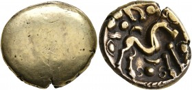 CELTIC, Northeast Gaul. Ambiani. Circa 60-30 BC. Stater (Gold, 18 mm, 5.88 g), 'statére uniface' type. Blank convex surface. Rev. Celticized horse gal...