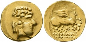 CELTIC, Northeast Gaul. Mediomatrici. 2nd century BC. 1/4 Stater (Gold, 15 mm, 1.65 g, 6 h). Celticized head of Apollo to right. Rev. Celticized Pegas...