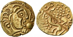 CELTIC, Northeast Gaul. Parisii. Late 2nd to mid 1st century BC. 1/4 Stater (Gold, 15 mm, 1.71 g, 10 h), Mint B, Class 2. Celticized head of Apollo to...