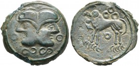 CELTIC, Northeast Gaul. Suessiones. Circa 60-30/25 BC. AE (Bronze, 27 mm, 2.27 g, 1 h). Celticized head of Janus; to left and right, annulets; below, ...