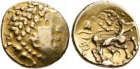 CELTIC, Central Gaul. Aedui. 2nd century BC. 1/4 Stater (Gold, 14 mm, 1.83 g, 9 h), 'type de Beaune'. Celticized laureate head of Apollo to right. Rev...