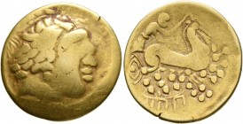 CELTIC, Central Gaul. Bituriges Cubi. 2nd century BC. Stater (Gold, 22 mm, 7.69 g, 5 h), 'type de Mouliets'. Celticized laureate head of Apollo to rig...