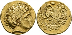 CELTIC, Central Gaul. Lemovices. 3rd to early 2nd century BC. Stater (Gold, 21 mm, 7.93 g, 10 h), 'type de Moulin-Limoges, au bust de face', imitating...