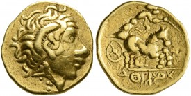CELTIC, Central Gaul. Sequani. 3rd century BC. 1/4 Stater (Gold, 13 mm, 2.00 g, 1 h), imitating Lysimachos and Philip II of Macedon. Celticized diadem...