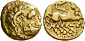 CELTIC, Central Gaul. Sequani. 3rd century BC. 1/4 Stater (Gold, 12 mm, 1.91 g, 9 h), imitating Lysimachos and Philip II of Macedon. Celticized diadem...