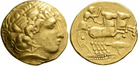 CELTIC, Central Europe. Uncertain tribe. 3rd century BC. Stater (Gold, 20 mm, 8.34 g, 7 h), 'type de Brackenheim', imitating Philip II of Macedon. Lau...
