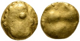 CELTIC, Central Europe. Vindelici. Late 3rd or very early 2nd century BC. 1/24 Stater (Gold, 5 mm, 0.31 g), 'Androkephales Pferd I' type. Male head to...