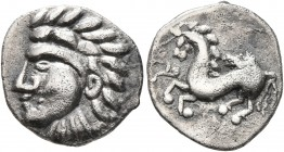 CELTIC, Central Europe. Vindelici. Late 2nd to early 1st century BC. Quinarius (Silver, 15 mm, 1.91 g, 9 h), 'Prototyp' issue. Naturalistic male head ...