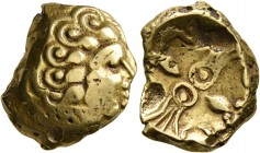 CELTIC, Central Europe. Vindelici. 1st century BC. Stater (Gold, 18 mm, 7.48 g). Celticized male head with curly hair to right. Rev. Two lyres and two...