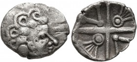 CELTIC, Central Europe. Vindelici. 1st century BC. Quinarius (Silver, 15 mm, 1.77 g), 'Kreuzquinar mit Lyra' type. Male head with curly hair to right....