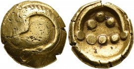 CELTIC, Central Europe. Vindelici. 1st century BC. Stater (Gold, 17 mm, 7.33 g), 'Rolltier' type. Convex surface with a dragon-like animal with the bo...