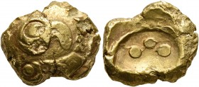 CELTIC, Central Europe. Vindelici. 1st century BC. Stater (Gold, 16 mm, 7.00 g), 'Blattkranz mit Vogelkopf' type. Head of a bird to right within a wre...
