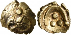 CELTIC, Central Europe. Vindelici. 1st century BC. 1/4 Stater (Gold, 11 mm, 1.72 g), 'Vogelkopf' type. Head of a bird to left with large pellet above ...
