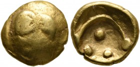 CELTIC, Central Europe. Vindelici. 1st century BC. 1/4 Stater (Gold, 10 mm, 1.88 g), 'Vogelkopf' type. Head of a bird to right with large pellet above...