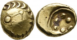 CELTIC, Central Europe. Vindelici. 1st century BC. Stater (Gold, 17 mm, 7.56 g), 'Leier in Blattkranz' type. Lyre to right within a wreath formed of t...
