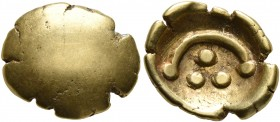 CELTIC, Central Europe. Vindelici. 1st century BC. 1/4 Stater (Gold, 12 mm, 1.56 g). Convex surface. Rev. Three pellets within torque with pellet at e...