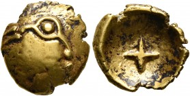 CELTIC, Central Europe. Vindelici. 1st century BC. 1/4 Stater (Gold, 12 mm, 1.88 g), 'Stern' type. Male head with prominent eye to right. Rev. Large c...