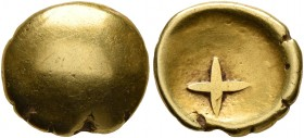 CELTIC, Central Europe. Vindelici. 1st century BC. 1/4 Stater (Gold, 11 mm, 1.76 g), 'Stern' type. Convex surface. Rev. Large cross within shallow inc...
