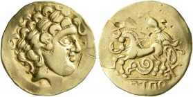 CELTIC, Central Europe. Helvetii. Late 2nd to early 1st century BC. 1/4 Stater (Gold, 15 mm, 1.95 g, 7 h), Horgen type. Celticized laureate head of Ap...