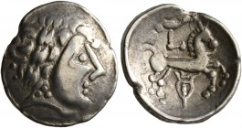 CELTIC, Central Europe. Helvetii. Late 2nd to early 1st century BC. 1/4 Stater (Electrum, 15 mm, 1.56 g, 2 h), 'à la lyre' type. Celticized laureate h...