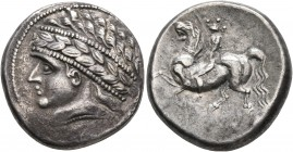CELTIC, Central Europe. Noricum (West). Circa 2nd to 1st centuries BC. Tetradrachm (Silver, 23 mm, 12.06 g, 12 h), 'Kugelreiter' type. Wreathed and di...