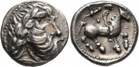 CELTIC, Middle Danube. Uncertain tribe. 2nd century BC. Tetradrachm (Silver, 23 mm, 11.94 g, 7 h), 'Kreuzelreiter' type. Imitating Philip II of Macedo...