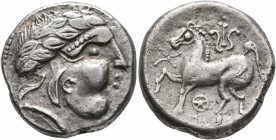 CELTIC, Middle Danube. Uncertain tribe. 2nd century BC. Tetradrachm (Silver, 22 mm, 10.23 g, 1 h), 'Leierblume' type. Imitating Philip II of Macedon. ...