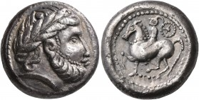 CELTIC, Middle Danube. Uncertain tribe. 2nd century BC. Tetradrachm (Silver, 21 mm, 13.76 g, 10 h), 'Dachreiter' type. Imitating Philip II of Macedon....